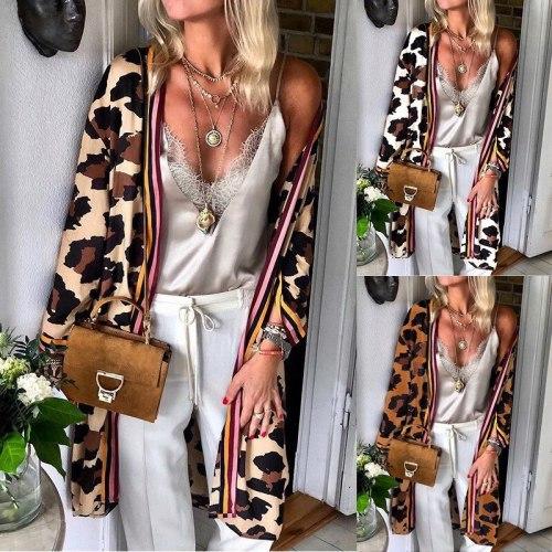 Women V Neck Long Sleeve Leopard Print Cardigan Coat Casual Blouse Tops Blusas Mujer De Moda 2020 Crop Top Vintage Plus Size