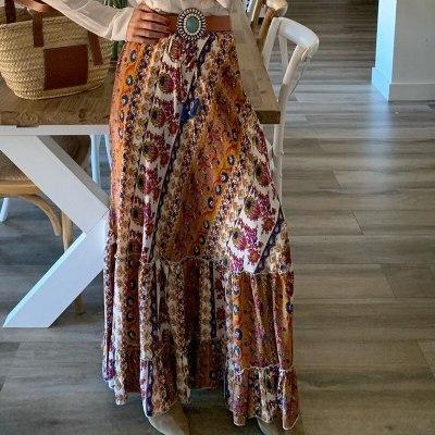 Vintage Fashion Women Print Skirts 2021 Summer Elegant Bohemian Style Floral Long Skirts