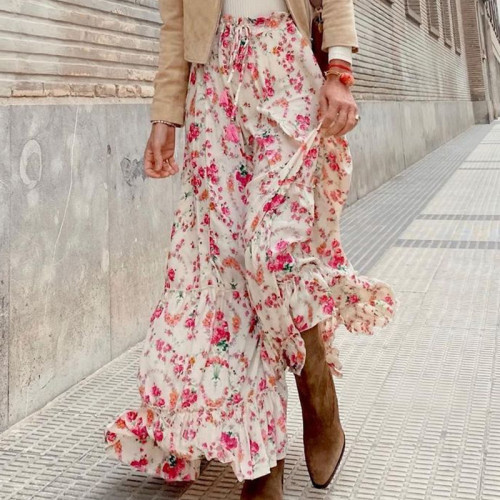 Vintage Fashion Floral Women Skirts 2021 Casual Ruffles Ladies Loose Long Skirts