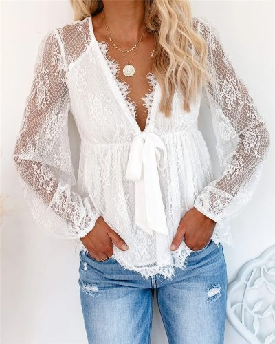 Women Shirts Autumn Mesh Sheer See Through Sleeve Patchwork Blouses 2021 New Fashion Sexy Lace V-neck Hollow Out OL Shirts