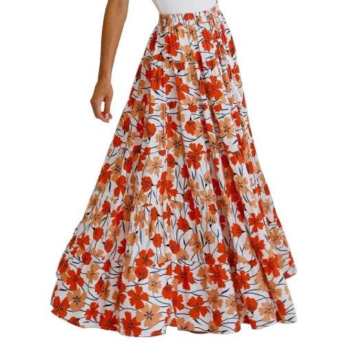 Women Skirt Elastic Waisted Printed Skirt Loose Long Pleated Skirts High Waist Flower Maxi Skirts Spring Summer 2021 New