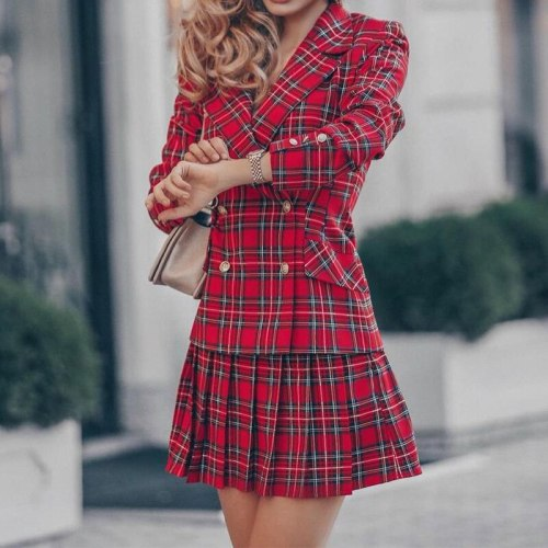 2021 Autumn Winter Preppy Style Plaid Women Dress Female Elegant Turn-down Collar Buttons Pleated Slim Party Dresses Vestidos