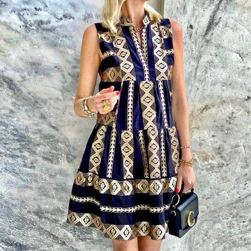 Vintage Printed Halter Strapless Dresses Female 2021 Summer Sundress Vacation Clothing For Women Sexy Sleeveless Dress Vestdios