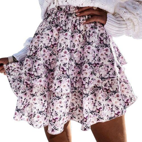 Summer High Waist A-Line Skirt for Women Flowers Printed Cascading Ruffle Vestidos Elagant Female Mini Skirt  2021