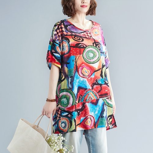 New Large Size Women's Blouses Summer Tops New Casual Blouse Art Print  Loose  O Neck Short Sleeve Shirts Blusas