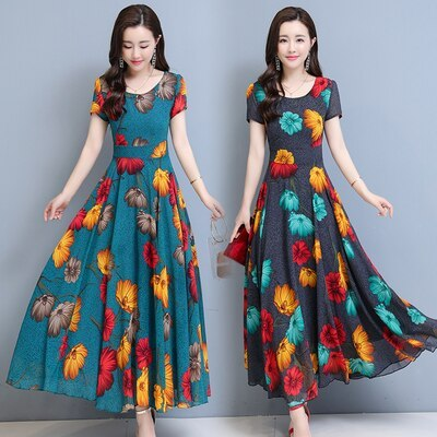 Chiffon Temperament Elegant Floral Print Short Sleeve O-Neck Ankle-Length A-Line Gray Green Big Swing Coctail Dress 9358
