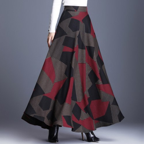 Elegant Women High Waist Retro Woolen Skirts 2020 Fashion Autumn Winter Female Wool Geometric Maxi Office Skirt Plus Size 3XLS61