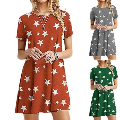 Women Summer Round Neck Loose Star Printed Dress Short Sleeve Ladies Casual