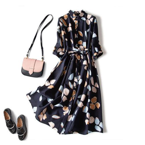 Chiffon print dress women retro waist three-quarter sleeve shirt dress loose piece bohemian dress