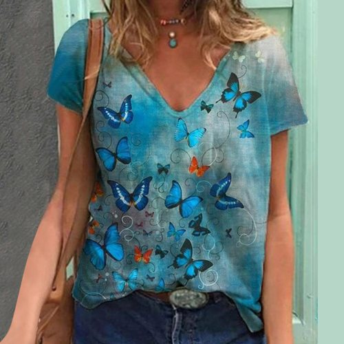 T-Shirt Plus Size Women Short Sleeve Printed V-Neck Tops Butterfly print Tee T-Shirt Casual Loose Tops Women's Clothing