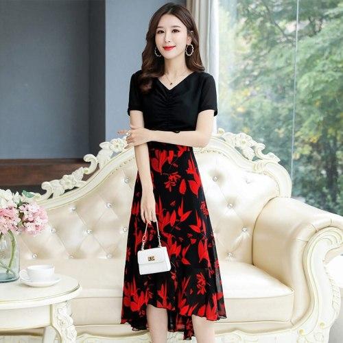 2021 Summer Dress New Fashion Floral Patchwork Chiffon Dress Elegant Asymmetry V-neck Short Sleeve Female Midi Vestidos K320