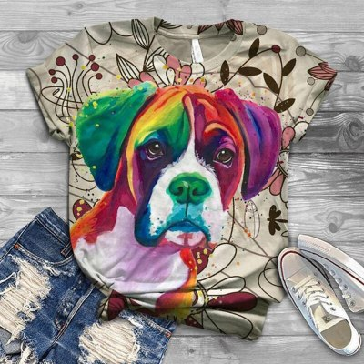 2021 Fashion Animal Print Dog Tee Loose Funny Graphic Print T-Shirt All-match Style Casual Slim Short Sleeve Top Summer