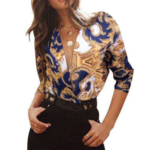 Women's Fashion Deep V-neck Temperament Long Sleeve Print Pullover Shirt Camisas Mujer Lady Office Shirt  A12