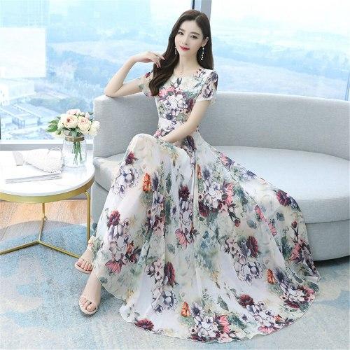 Casual Floral Printed A-line Dress Summer Slim Boho Chiffon Party Dress Women Retro Long Big Swing Dress Vestidos