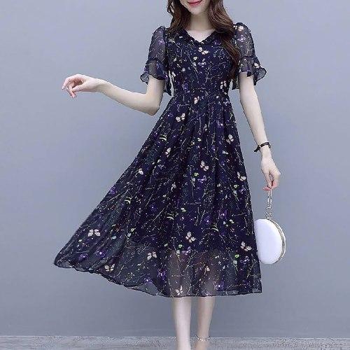 Women Mash Appliques Dresses Elegant Short Butterfly Sleeve V-neck Wave Point High-waist Dress Vestidos Longos De Verao