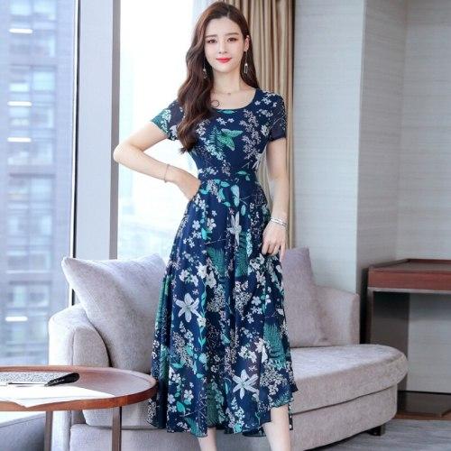 2021 Fashion New Women Summer Floral Dress O Collar Short-sleeve Bohemian Dress Female Beautiful Sweet Temperamental Dress
