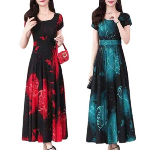 Womens Short Sleeve Floral Long Maxi Dress Ladies Party Casual Travel Sundress