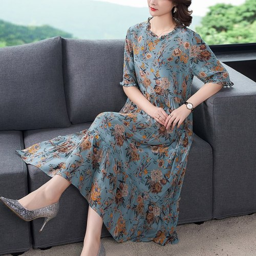 2021 Summer Mulberry Silk High Quality Midi Dress Fashion Vintage 3XL Plus Size Print Runway Dress Elegant Women Bodycon Vestido