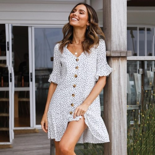 Casual V Neck With Button Polka Dot Summer Dress Short Sleeve Ruffled Loose White Vintage Mini Dress