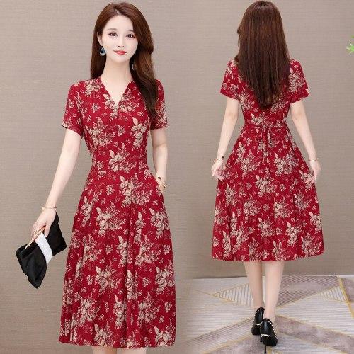 2021 New V-neck summer women dresses Plus Size  Summer European Style Brand Cothing Loose short Sleeve Women Dresses