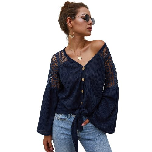 V Neck Lace Women Shirt Long Sleeve Loose Single Breasted Lace Up Flared Sleeve Female Tops Fall Fashion New Solid Ladies Blouse