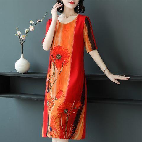 2021 Floral Chiffon Vintage Midi Dresses Elegant Comfortable Female 4XL Plus Size Print Summer Party Bodycon Runway Vestidos Y01