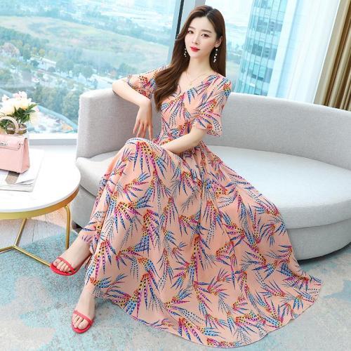 Black,Green,Pink Flower Printed Beach Summer Dress Women Short Sleeve V-Neck Floral Print Long Chiffon Dresses M-3XL
