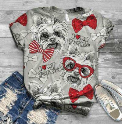 Animal Motifs Choli Commuter Contracted Regular T-Shirts Show Thin Summer Loose Joker Sweethearts Outfit