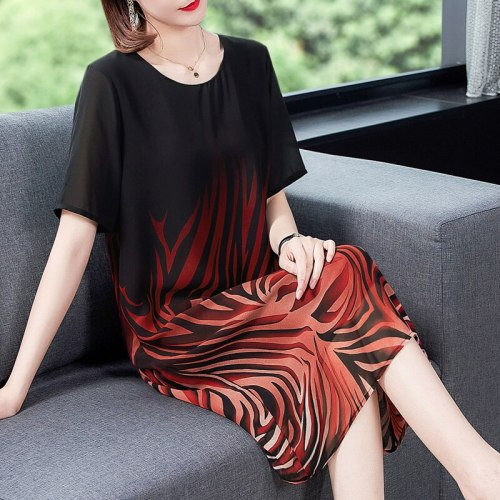 Elegant Casual Print Mulberry Silk Sundress Summer Vintage 5XL Plus Size Short Sleeve Dresses Women Bodycon Party Vestidos 2021