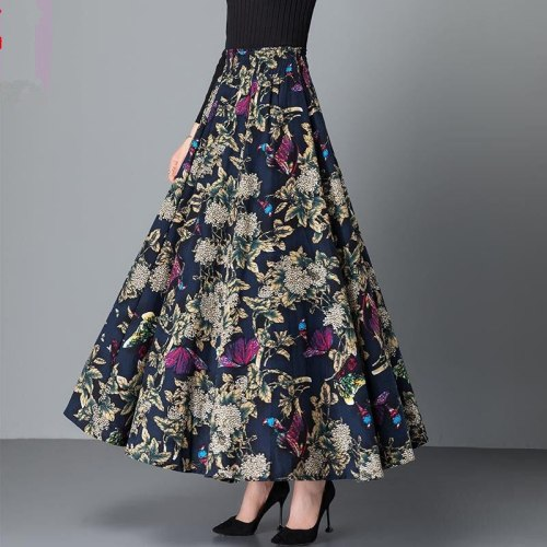 2021 New Spring Autumn Women Fashion Cotton Florals Print Long Skirts Female Boho All-Match Elastic High Waist Casual Skirts A33