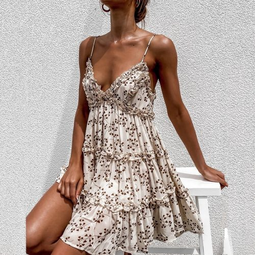 Sexy Floral Print Woman Dress Sleeveless Spaghetti Strap Summer Mini Dress A-Line Ruffled Backless Vintage Beach Vestido