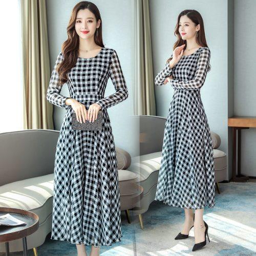 2021 Korea Vintage Plus Size Midi Dress Autumn Winter Chiffon Plaid Casual Dress Elegant Women Full Sleeve Party Bodycon Vestido