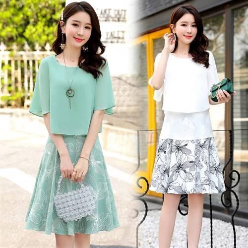Fashion New 2021 Korean Two Piece Set Casual Brief A-line 2 Pcs Set High waist Plus Size Chffion Women Sets Clothes