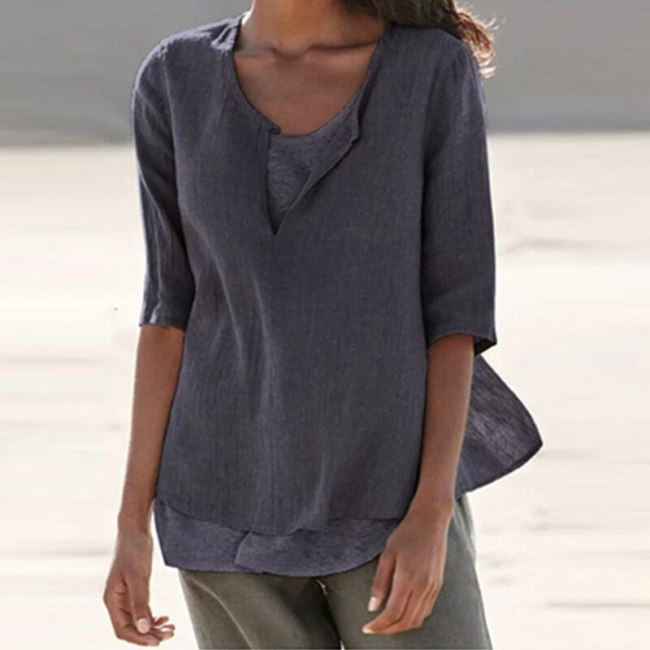Simple Casual T-shirt V-neck Light-colored Women Tops Summer Short-sleeves Cotton Linen Shirt Loose Tees Clothing For Ladies
