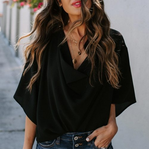 Women Blouses Fashion Solid Color Half Sleeve V Neck Draped Front Shirt Blouse  блузка женская ropa de mujer 2021