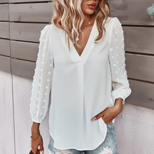 4# Beware Of Bubble Elegant Blouses Women's Sleeves Slim V Collar Leisure Blouse Female Mesh Sheer Long-sleeved Blouse Shirts