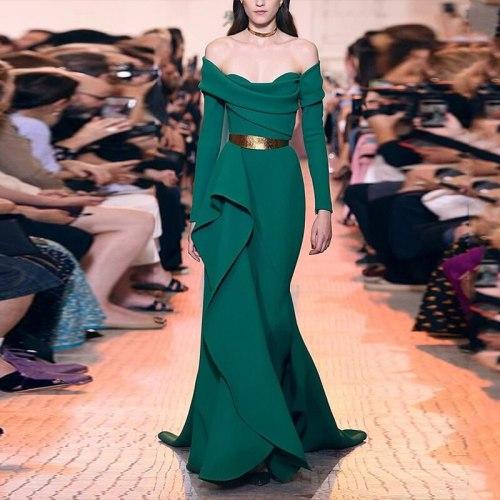 Maxi Dresses For Women Long Sleeves Sexy Fashion Slash Neck Irregular Green Long Dress Elegant Club Party Dresses