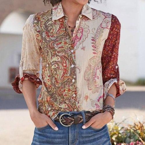 Vintage Ethnic Pattern Bohemian Blouse Women Long Sleeve Shirts 2020 Fashion Boho Vintage White Shirt Casual Print Button