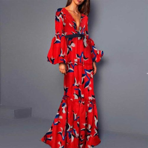 Plus Size 2021 Women Summer Vintage Elegant Party Night Dresses Sexy V Neck Casual Long Sleeve Maxi Print Fashion Dress