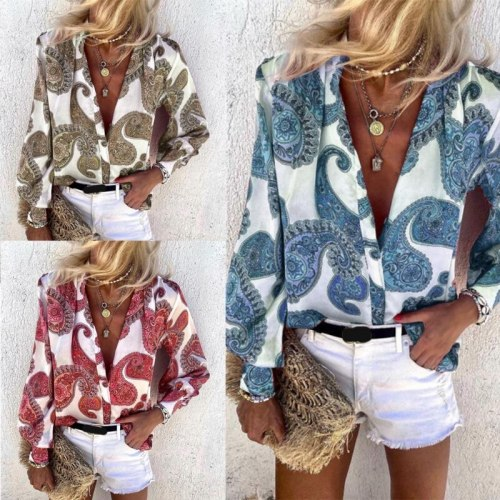 Women Long Sleeves Buttons Down Blouses Elegant Printing V Neck Tops Shirt Spring Summer Casual Loose Tunic