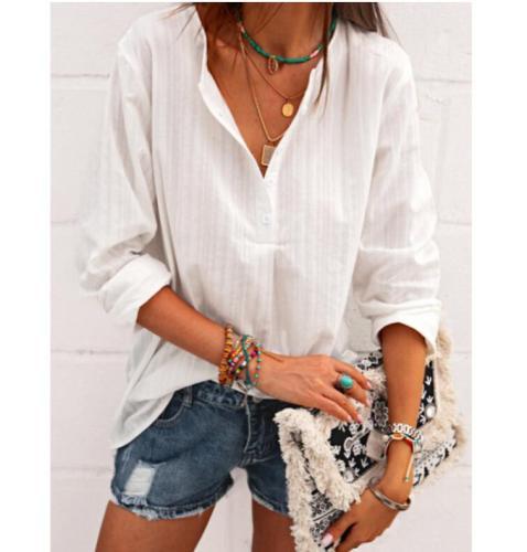 Fashion Spring Summer Long Sleeve Blouse Cotton hemp V-neck stripe Elegant Office Lady Shirt Women Casual Tops Blusa Streetwear