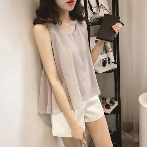 Spring And Summer Shirt Blouse Women Clothes Casual Ladies Tops Shirt Large Size 4XL Loose Black Sleeveless Women Blouse Q2525