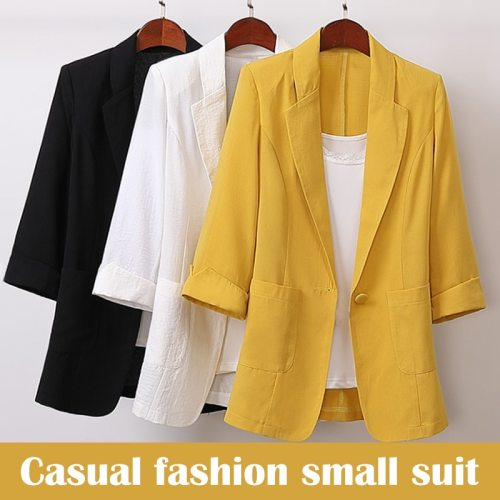 Hot Sale Cotton and Linen Long and Large Size Suit Jacket Loose Casual Fashion Suit Women'S Clothing NOV99
