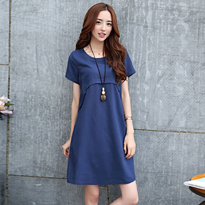Women's 2021 Summer Casual New Korean Version Of The Thin Temperament Loose Large Size Mid-Length A-Line Large Size Dress