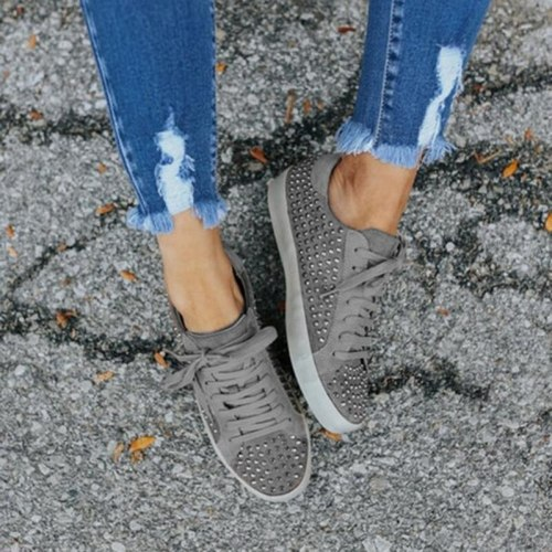 Rivet Single Shoes Women 2021 Flat Retro Vintage Old Women'S Shoes Comfortable Lace-Up Punk Style Flat Shoes Women'S Plus Size