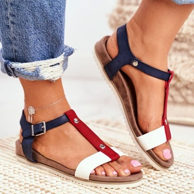 Women's Large Size Sandals 2021 Summer New College Style Low Heel Wedge Casual Sandals Fashion Ladies Sandals Footwear 35-43