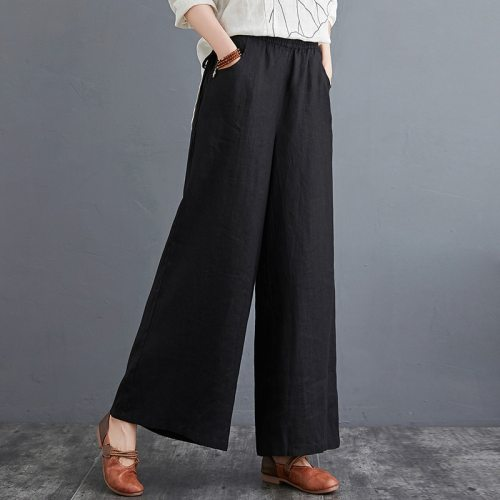 Oriental Style Solid Color Linen Pants for Women Kung Fu Chinese Style Harem Urban Streetwear 2021 Summer New Loose Trousers