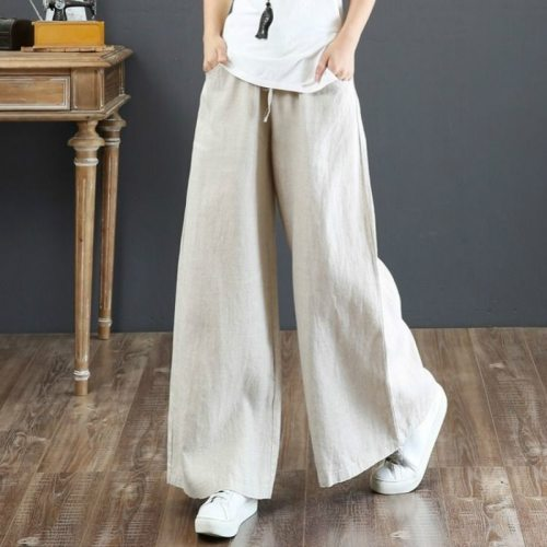 Cotton And Linen Loose Large Size Wide Leg Pants High Waist Straight Trousers Spring And Summer Casual Linen Pants 2020
