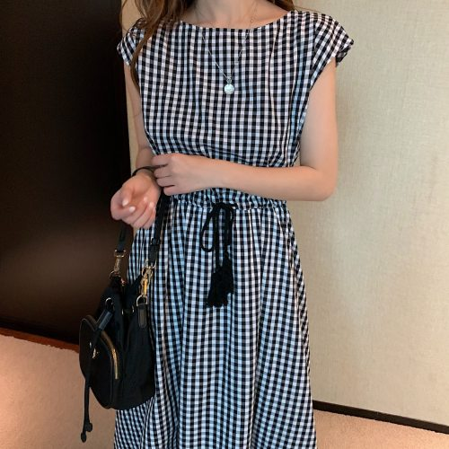 Korea Chic Dress 2021 Summer Casual New Drawstring Waist Slim Plus Size Tunic Cotton and Linen Dress Women Big Swing Clothing