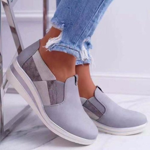 2021 Solid Color Women's Shoes Vulcanize Shoes Spring New Tep on Loafers Women Fashion Wild  Trend Casual Platform Shoes